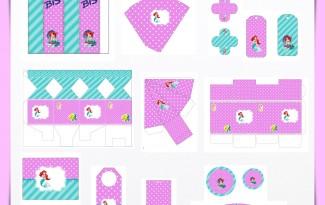 Kit digital pequena sereia ariel festa personalizados aniversario menina lembrancinhas rotulos caixinha personalizada 1
