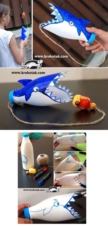 faca voce mesmo brinquedo reciclado criancas tubarao garrafa pet