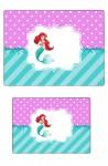 Kit digital pequena sereia ariel festa personalizados aniversario menina lembrancinhas rotulos caixinha personalizada Marmita